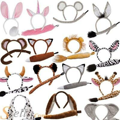 Animal Ears Headband & Tail Safari Fancy Dress Costume Set Unisex Outfit