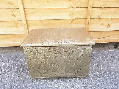 Vintage Hammered Brass And Metal Log Coal Box Metal Lined