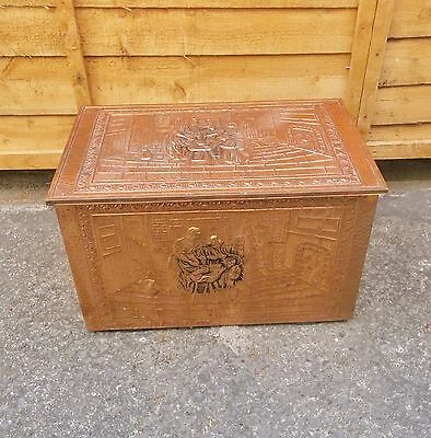 LARGE VINTAGE COPPER LOG COAL BOX EMBOSSED 17th CENTURY SCENE