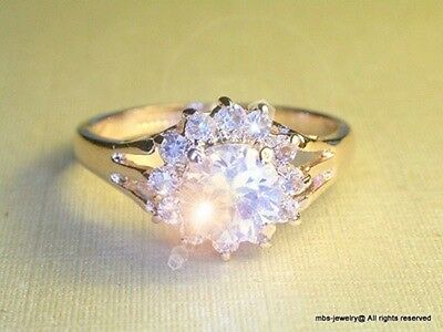 2.5Ct Created Diamond Cluster Ring 18K Champagne Yellow Gold GP Ring