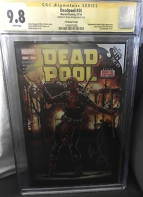 Deadpool CGC SS 9.8 #34 3-D 1:52 Variant Signed by Mark Brooks