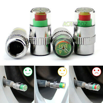 4X Car Suv Tire Air Pressure Alert Valve Stem Cap Sensor Monitor Indicator 36Psi