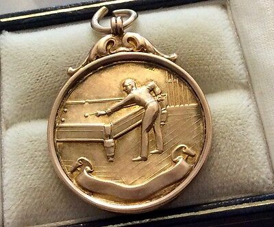 Super Quality Antique 1914 Solid 9ct Gold Snooker Medal Fob Pendant Nice
