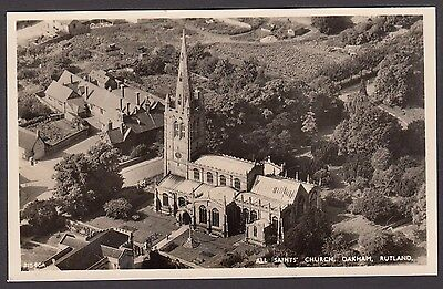 Postcard Oakham Rutland aerial view of All Saints Church and surrounds RP