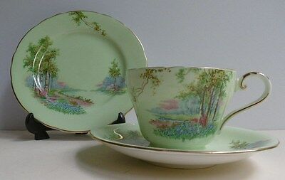 Vintage Aynsley Trio Tea Cup & Saucer + Plate Bluebell Time Green