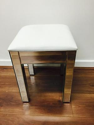Venetian Mirrored Stool with WHITE faux leather seat - ready assembled!