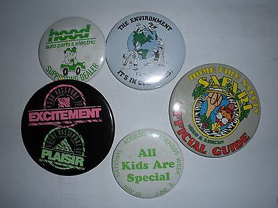 Vtg Pinback Button Badge Lot A3 Misc Hood Auto Parts Fire Safety Canada Environm