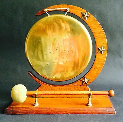 Antique Victorian Solid Brass Dinner Gong c1890, With Original Mallet/Beater
