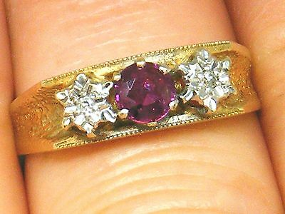 9ct Gold 9K Gold Ruby & Diamond vintage ring size N Hallmarked , Boxed