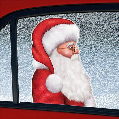 Santa Father Christmas Backseat Driver Car Van Window Cling Sticker~Free Pp Uk