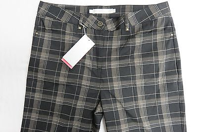 Ladies Ping Black Dry Fibre Checked Trousers Size 12 W32 L32 SP69