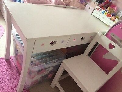 Desk And Chair White Wooden