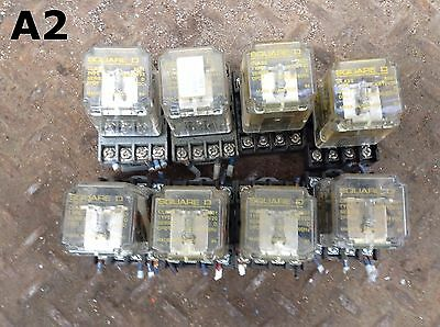 Square D Type KPD12V53 Ice Cube/Plug-In Relay and Socket 24VDC 120VAC -Lot of 8