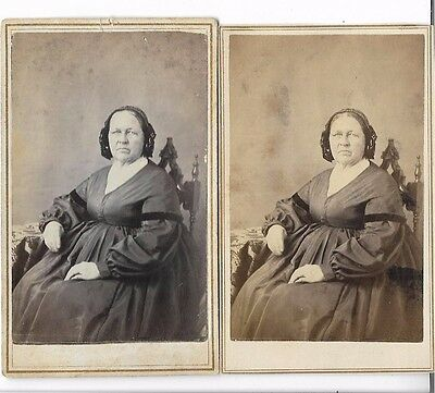 2 CDV Photographs With Tax Stamps 1864-1866 Lyons NY