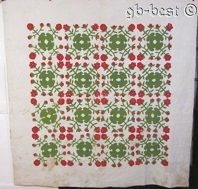 "Antique c 1850s Red Green APPLIQUE Album Quilt Beautiful Quilting 87"" x 86"""