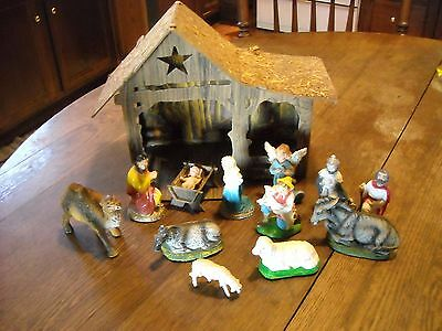 Vintage Nativity with cardboard creche