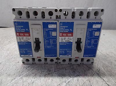 Westinghouse # Fdc3020  20 Amp 3-Pole Circuit Breaker,(Lot Of 2) Used