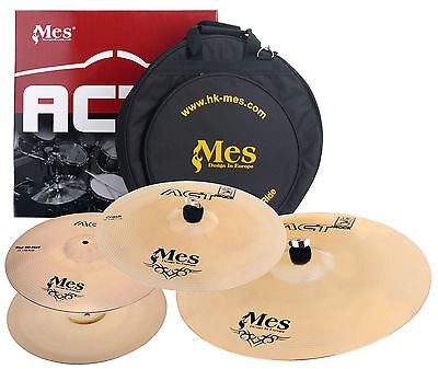 "Mes Act Schlagzeug Becken Set 14"" Hihat 16"" Crash 20"" Ride Bronze Cymbal Kit"