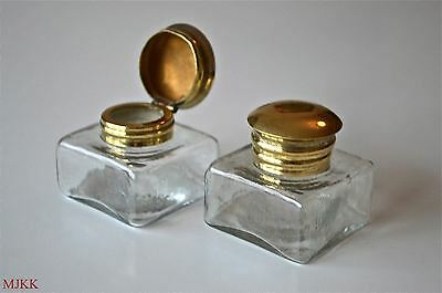 Pair antique replacement inkwell hinged top writing box ink well pot slope pen