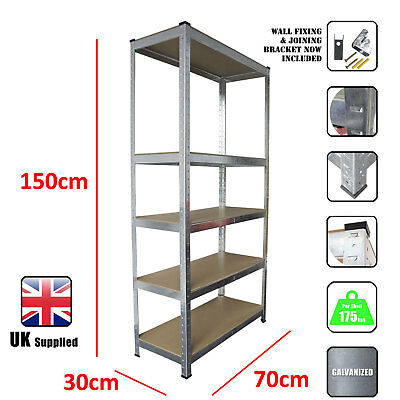 5 Tier Garage Shelving Racking Unit Storage Racks Heavy Duty Steel Shelf Bays