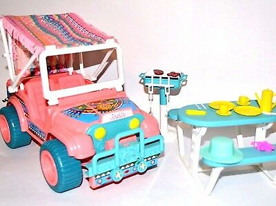 Vintage Barbie jeep Western Fun Desert Rider playset 1987 BBQ picnic table food