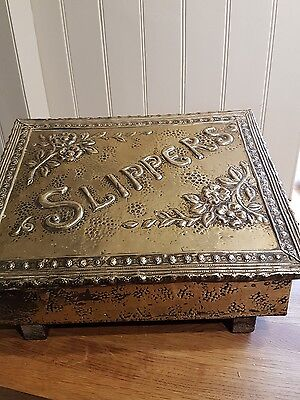 Arts and Crafts embossed brass panel slipper box.