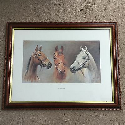"RARE Framed ""WE THREE KINGS"" Horse Racing Print, Red Rum, Arkle by S L Crawford"