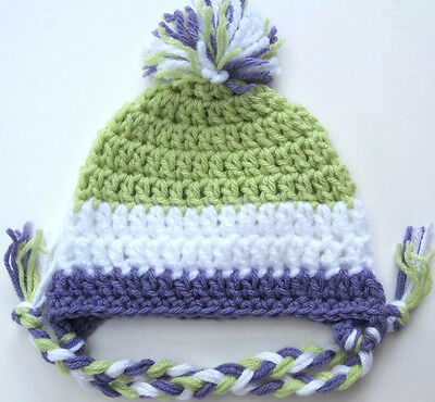 NEW INFANT BABY CROCHET EAR FLAP HAT cap knit beanie boy girl photo prop USA