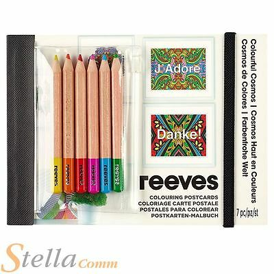 Reeves Colourful Cosmos Colouring Pack Of 10 Postcards With 6 Pencils Art Craft