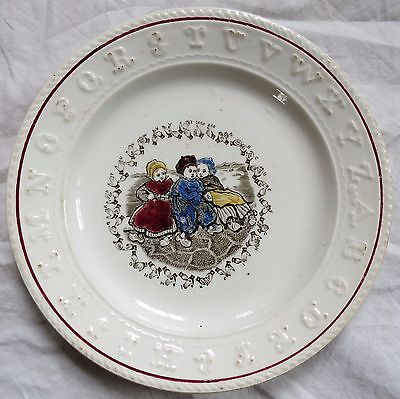 Aynsley ABC Child's Plate Sign Language Dutch Children Staffordshire Old Antique