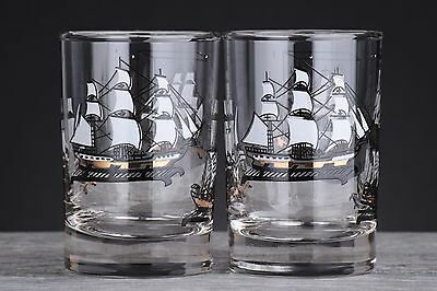 2 Vintage Mid Century Libbey Curio Series Small Juice Glasses w/ Tall Ship Model