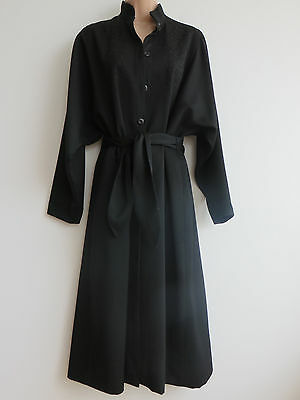 Vintage 80s black duster coat, belted, voluminous/dramatic, Wallis, 12