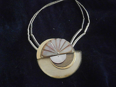 Rare Langani With The Black Pearl Vintage 1980S Art Deco Style Gilt Necklace