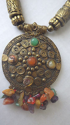 Antique Tibetan Old Chinese Brass Necklace Turquoise, Coral, Amber, Jade, Agate