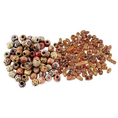 200pcs Wooden Boho Mix Shape Large Hole European Beads Jewelry Charms Making