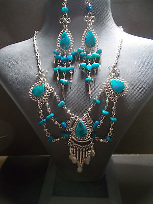 Peruvian Alpaca Silver,Gemstone Necklace and Earring Set ~Dark Turquoise~PN13~uk