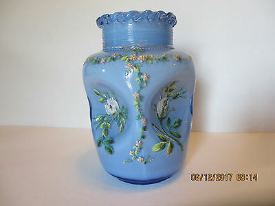 Antique Victorian Blue Cased Glass Vase Bowl Hand Painted