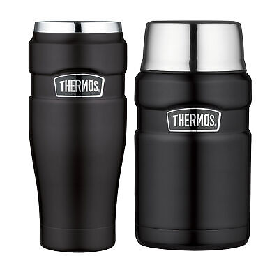 Thermos Stainless King Vacuum Insulated Tumbler and Food Jar Bundle Matte Black