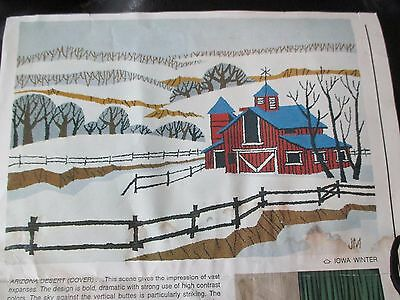 RUG MASTERS Vintage IOWA WINTER Primitive Punch Needle RUG CANVAS TAPESTRY-1976