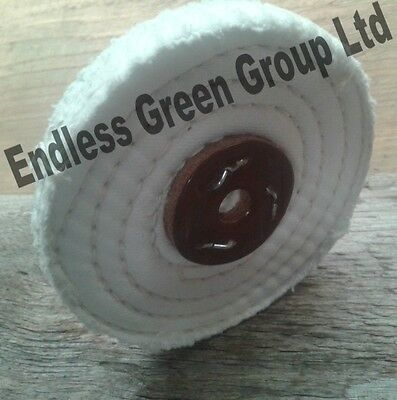 Stitched Cotton Buffing Wheel - 100mm Polishing Mop For Metal & Plastic  C100/1