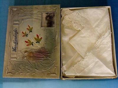 4 Silk & Lace Embroidered Handkerchiefs In Original Box Wedding Trousseau 1920's