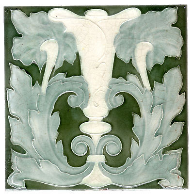 Antique - Art Nouveau - Abstract White Flower & Green Leaves - c.1905