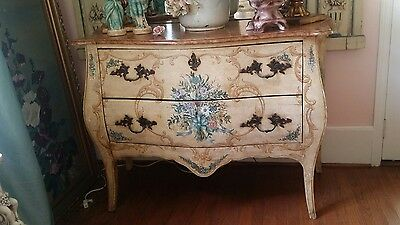 Vintage Shabby Italian Painted Bouquets Bows French Style Commode