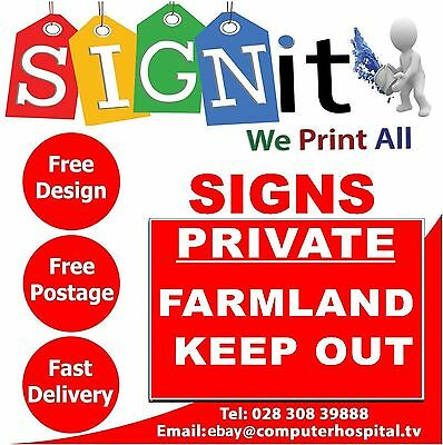 Private Farmland Sign, Sticker, Correx Plastic Or Aluminium Sign - K003