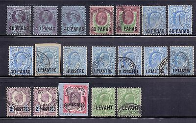British Levant. 19 used GB QV and KE7 stamps with overprints. 1887 to 1905