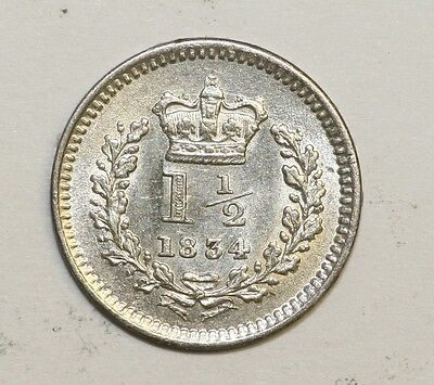 1834 William IV Silver Three Half Pence Uncirculated Condition