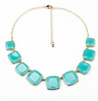 Turquoise Large Square Geometric Glass Crystal Necklace J Crew, Cloe Isabell