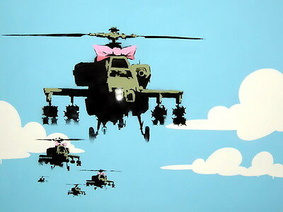 Helicopters Happy Choppers Banksy Graffiti Street Art Wall Print POSTER AU