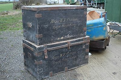 World war one trunk chests boxes storage pine antique royal Scots greys