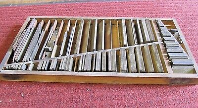 Vintage Wood Letterpress Printers Type Set Rule Case Tray with Brass Print Rule